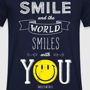 SmileyWorld The World Smiles With You - T-shirt bio col en V Stanley & Stella Homme