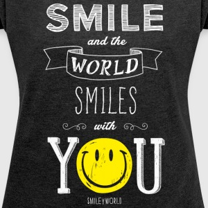 SmileyWorld The World Smiles With You - T-shirt Femme à manches retroussées