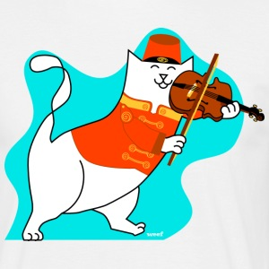 Roger the cat playing his violin - Men's T-Shirt