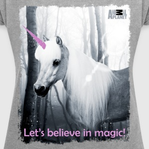 Animal Planet Unicorn Einhorn Magic Spruch - Frauen T-Shirt mit gerollten Ärmeln