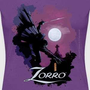 Zorro Hero By Night In Front Of A Full Moon - Dame premium T-shirt