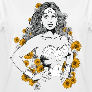DC Comics Wonder Woman Floral Background - Oversize T-skjorte for kvinner