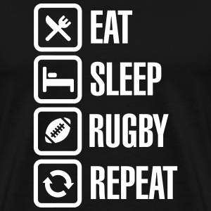 Eat Sleep Rugby  Repeat T-shirts - Mannen Premium T-shirt