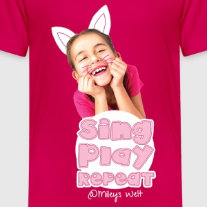 Mileys World Sing Play Repeat Spruch - Teenager Premium T-Shirt