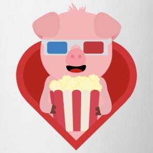 Cinema pig with popcorn in the heart of Sxitv design Mugs & Drinkware - Contrasting Mug
