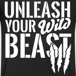 Unleash your wild Beast T-Shirts - Men's Organic V-Neck T-Shirt by Stanley & Stella
