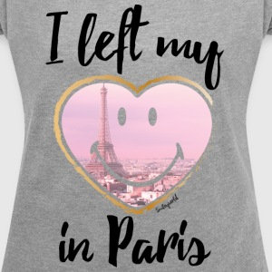 SmileyWorld Left my heart in Paris - Women's T-shirt with rolled up sleeves