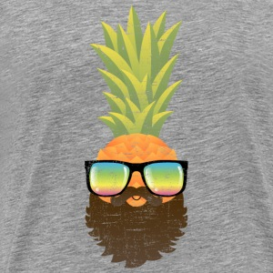 Pineapple Hipster With Beard And Sunglasses T-Shirts - Men's Premium T-Shirt