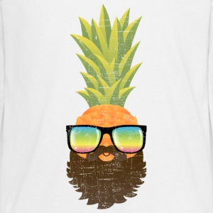 Pineapple Hipster With Beard And Sunglasses Manches longues - T-shirt manches longues Premium Ado