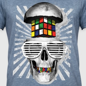 Rubik's Cube Skull With Sunglasses - Mannen Vintage T-shirt
