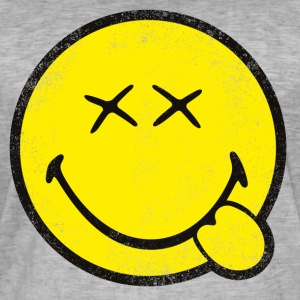 SmileyWorld Klassischer Smiley Used Look - Männer Vintage T-Shirt