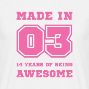 14th birthday born in 2003 College style T-Shirts - Men's T-Shirt