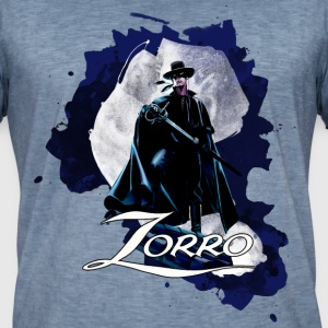 Zorro Hero By Night Standing On A Rooftop - Maglietta vintage da uomo