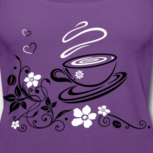 Coffee Cup with coffee beans, flowers and hearts. - Women's Premium Tank Top