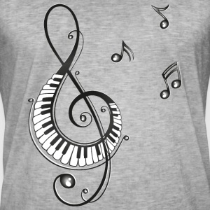 Clef with piano and music notes, i love music. T-Shirts - Men's Vintage T-Shirt
