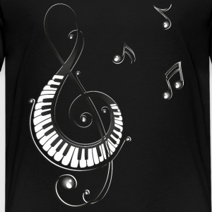 Clef with piano and music notes, i love music. Shirts - Teenage Premium T-Shirt