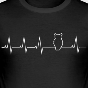 Eule - Heartbeat T-Shirts - Männer Slim Fit T-Shirt