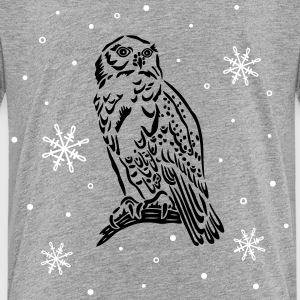 Beautiful snow owl with snowflakes. Shirts - Teenage Premium T-Shirt