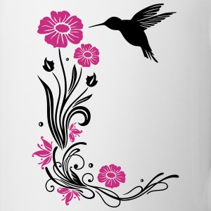 Floral motif with flowers and hummingbird. Mugs & Drinkware - Mug