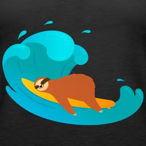 Lazy Sloth Surfing On Big Wave Tops - Women's Premium Tank Top
