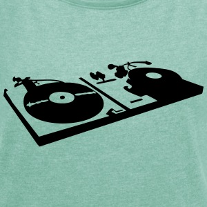 DJ, record player, vinyl T-Shirts - Women's T-shirt with rolled up sleeves