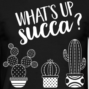 What's Up Succa | Succulent Illustration Design T-shirts - Herre-T-shirt
