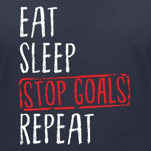 Lacrosse - Eat Sleep Stop Goals Repeat T-skjorter - T-skjorte med V-utsnitt for kvinner