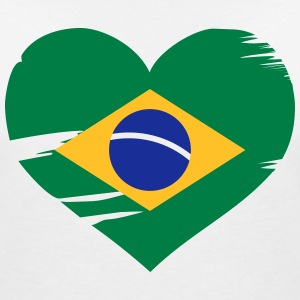 I love Brasil - Brazil flag heart T-Shirts - Women's V-Neck T-Shirt
