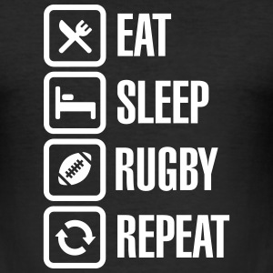Eat Sleep Rugby  Repeat T-Shirts - Men's Slim Fit T-Shirt