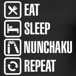 Eat Sleep Nunchaku Repeat T-Shirts - Men's Slim Fit T-Shirt