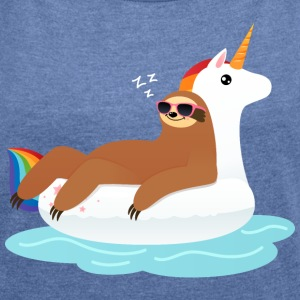Sloth Sleeping On Unicorn Floaty T-Shirts - Women's T-shirt with rolled up sleeves