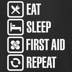 Eat Sleep First Aid Repeat T-Shirts - Men's V-Neck T-Shirt