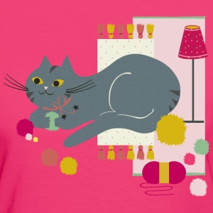 Chat Cosy Curry Framboise Tee shirts - T-shirt Bio Femme
