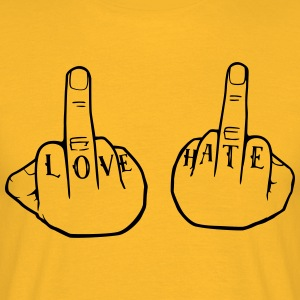 Love Hate, Mittelfinger, Tattoo T-Shirts - Männer T-Shirt