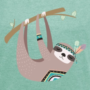 tribal sloth T-Shirts - Women's T-shirt with rolled up sleeves