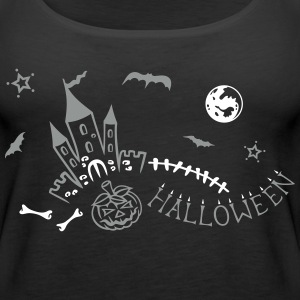 Halloween castle with bats, pumpkin and bones. Tops - Women's Premium Tank Top