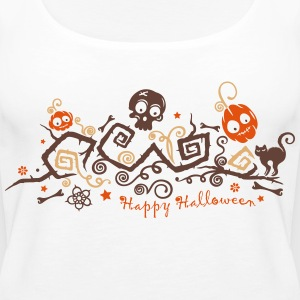 Halloween ornament with pumpkins and skull. Tops - Women's Premium Tank Top
