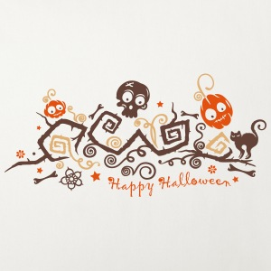 Halloween ornament with pumpkins and skull. Other - Sofa pillow cover 44 x 44 cm