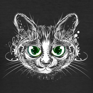 Cute cat with big green eyes T-Shirts - Men's Slim Fit T-Shirt