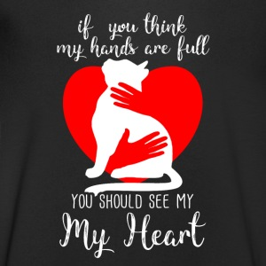 Cat - If you think my Hands full you should Heart T-shirts - Økologisk Stanley & Stella T-shirt med V-udskæring til herrer