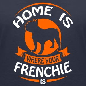 French Bulldog - Home is where your Frenchi is T-Shirts - Women's Organic V-Neck T-Shirt by Stanley & Stella