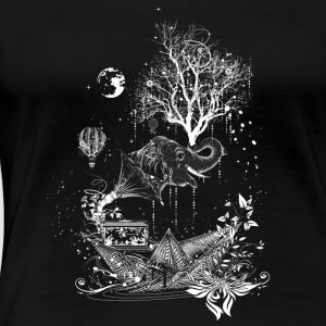 Elephant, paper ship and tree-surreal design T-Shirts - Women's Premium T-Shirt