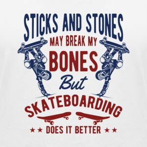 Sticks and Stones break bones Skateboarding T-Shirts - Women's Organic V-Neck T-Shirt by Stanley & Stella