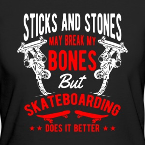 Sticks and Stones break bones Skateboarding T-Shirts - Women's Organic T-shirt