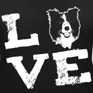 LOVE - Border Collie T-Shirts - Women's Organic V-Neck T-Shirt by Stanley & Stella