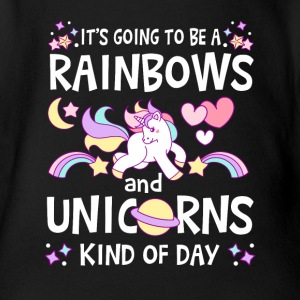 It's going to be Rainbows and Unicorns kind of day Babybody - Økologisk kortermet baby-body