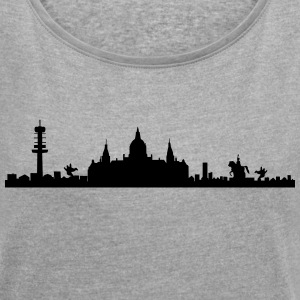 Hanover skyline - silhouette - Lower Saxony T-Shirts - Women's T-shirt with rolled up sleeves