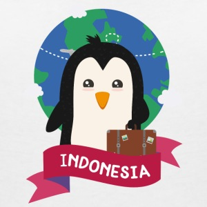 Penguin Globetrotter from Indonesia Sxk62e T-Shirts - Women's Organic V-Neck T-Shirt by Stanley & Stella