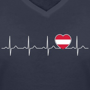 Austria flag heartbeat - nation - flag  T-Shirts - Women's Organic V-Neck T-Shirt by Stanley & Stella