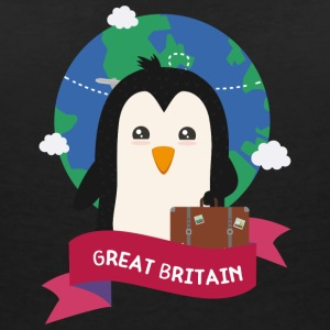 Penguin Globetrotter from Great Britain Sza2p0 T-Shirts - Women's Organic V-Neck T-Shirt by Stanley & Stella